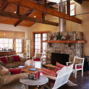 A view of some interior and exterior paints beam, hearth, interior design, living room, real estate, room, brown