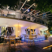 An exterior view of the restaurants exterior dining lighting, restaurant, black