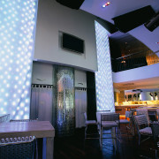 A view of the dining area. - A ceiling, interior design, lobby, restaurant, black