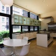 view of this kitchen featuring  travertie flooring, architecture, interior design, real estate, window, brown