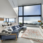 The double-height family room is open to the