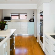 Kitchen with white benchtop and cabinetry, and stainless cabinetry, countertop, cuisine classique, floor, home, house, interior design, kitchen, real estate, room, white, gray