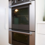 View of stainless steel wall oven. - View home appliance, kitchen, kitchen appliance, kitchen stove, major appliance, oven, white, black