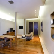A view of the main living room, wooden ceiling, floor, flooring, furniture, house, interior design, living room, property, real estate, room, table, gray
