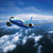An exterior view of the plane. - An aerospace engineering, air travel, airbus, aircraft, airline, airliner, airplane, aviation, boeing, boeing 787 dreamliner, daytime, flight, jet aircraft, mode of transport, narrow body aircraft, sky, wide body aircraft, blue, teal
