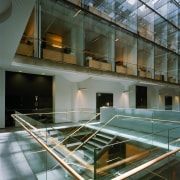 A viewof the stairways in the building. - architecture, building, condominium, daylighting, glass, interior design, gray