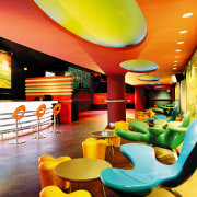 view of the interior of the zouk nightclub interior design, restaurant, table, yellow