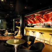 view of the interior of the zouk nightclub bar, interior design, restaurant, black