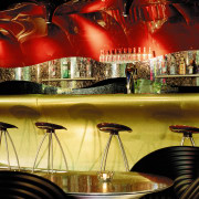 view of the interior of the zouk nightclub bar, interior design, lighting, restaurant, red