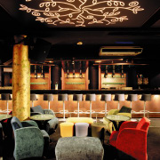 view of the interior of the zouk nightclub function hall, interior design, lighting, restaurant, black