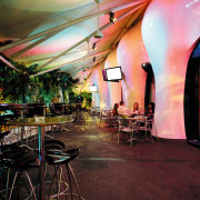 view of the interior of the zouk nightclub function hall, interior design, lighting, restaurant, red
