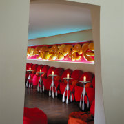 view of the restaurant that was designed and furniture, interior design, modern art, red, table, gray