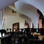 view of the restaurant that was designed and architecture, furniture, hearth, interior design, table, gray, black