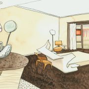 view of the concept drawing for the guest cartoon, design, furniture, home, interior design, paint, product design, room, table, white