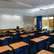 A view of the lighting system. - A classroom, conference hall, institution, room, seminar, gray