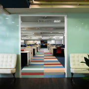 A view of the entrance to the office, interior design, gray