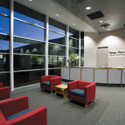 A view of the reception area. - A architecture, institution, interior design, lobby, office, gray, black