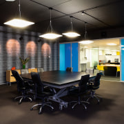 A view of the Trends Building. - A ceiling, interior design, office, black