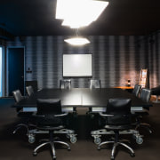 A view of the Trends Building. - A interior design, office, black