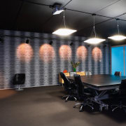 A view of the Trends Building. - A architecture, ceiling, interior design, office, black