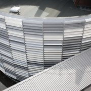 A view of the louvres. - A view architecture, building, daylighting, line, material, metal, steel, structure, gray