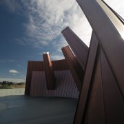A view of the copper clad roofing. - angle, architecture, cloud, daylighting, house, line, reflection, sky, sunlight, wood, black
