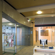 A view of the lighting in the office. ceiling, daylighting, interior design, brown