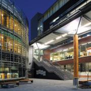 An exterior view of the Waitakere Civic Centre. architecture, building, commercial building, convention center, corporate headquarters, facade, headquarters, metropolis, metropolitan area, mixed use, structure, black