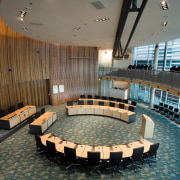 A view of the council chamber. - A architecture, auditorium, conference hall, interior design, lobby, performing arts center, gray, brown