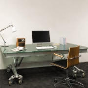 view of the treds office featuring blue featuring, angle, desk, furniture, office, office chair, product design, table, white, black