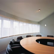 A view of some window shades. - A architecture, ceiling, conference hall, daylighting, interior design, office, table, window, gray