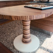 view of tjis low oval extension table that chair, coffee table, floor, flooring, furniture, hardwood, product design, table, wood, wood stain, brown, gray