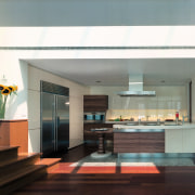 view of this kitchen featuring  zebra wood interior design, kitchen, gray
