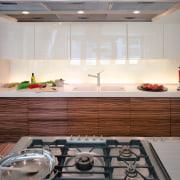 view of this kitchen featuring  zebra wood countertop, interior design, kitchen, gray