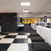 view of this office space featuring black and interior design, gray, black