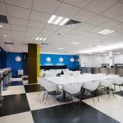 view of this office space featuring black and cafeteria, ceiling, interior design, office, gray