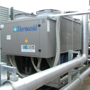A view of a multi-functional heat pump/ heat machine, product, gray