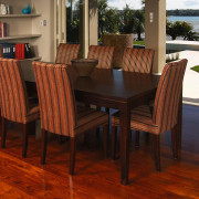 A view of some furniture from Nobelwood. - chair, dining room, floor, flooring, furniture, hardwood, kitchen & dining room table, laminate flooring, table, wood, wood flooring, wood stain, red