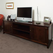 A view of some furniture from Nobelwood. - desk, furniture, sideboard, table, white, black, gray
