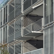 A view o some aluminium louvres from Architectural architecture, building, daylighting, facade, line, structure, window, window covering, gray, black