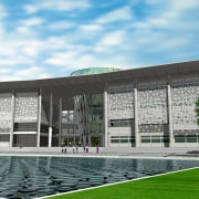 Exterior view of the new asian institute of architecture, building, campus, convention center, corporate headquarters, daytime, facade, grass, headquarters, sport venue, structure, white