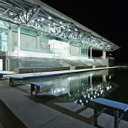 Exterior view of the new asian institute of architecture, daylighting, reflection, structure, water, black
