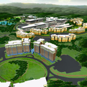 plan view of the grounds and nuilding layout aerial photography, bird's eye view, city, estate, landscape, metropolitan area, mixed use, residential area, suburb, urban design, water resources, green
