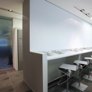 view of the touchdown soace, and aluminium lockers architecture, floor, interior design, gray, white, black