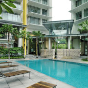 A view of the swimming pool, concrete tiled apartment, architecture, condominium, courtyard, estate, house, mixed use, property, real estate, residential area, swimming pool, gray