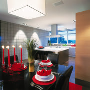view of the open plan kitchen an dining ceiling, interior design, table