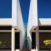Exterior view of the freemantle Mausoleum featuring glass architecture, building, facade, residential area, white, blue