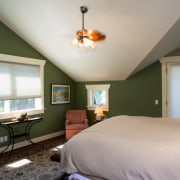A view of a bedroom, green walls, wooden bedroom, ceiling, daylighting, estate, home, house, interior design, living room, real estate, room, wall, window, wood, gray, brown