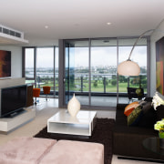view of the living area featuring modern contemporary house, interior design, living room, property, real estate, room, window, gray