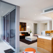 view of the living area featuring modern contemporary interior design, living room, real estate, room, gray